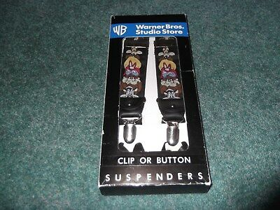 Warner Brothers Store Clip or Button Suspenders Taz Pepe Le Pew Yosemite Sam