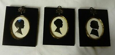 Vintage Reproduction Antique, Three Silhouettes, Black Wooden Surround Frames