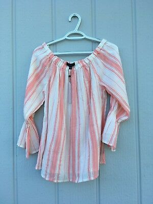 Sanctuary Women's Blouse Boho XS Peasant Striped Cotton Off Shoulder Bell Sleeve