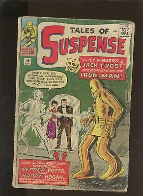 Tales of Suspense 45 GD 1.8 *1 Book Lot* 1st Pepper Pots & Hogan! Lee & Ditko!