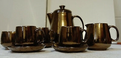 Vintage, Prinknash Abbey Pottery, 4 Cups & Saucers, Coffee Pot, Sugar & Cream
