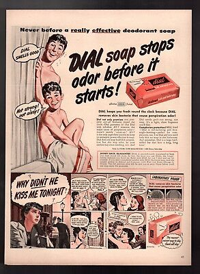 Original 1949 Vintage Print Ad  Dial Soap  Stops Odor Why Did't He Kiss Me