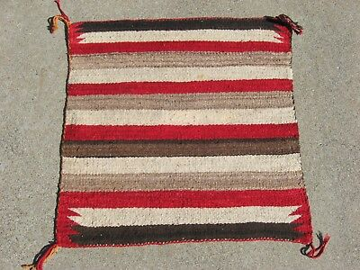 CLASSIC & OLD NAVAJO BANDED SINGLE SADDLE BLANKET! Native American Indian c1925