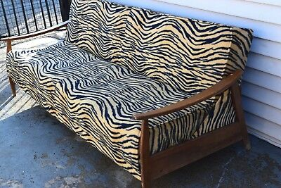 Mid Century Modern Eames Vintage Retro Sofa Day Bed Tiger Black Gold Style