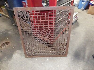 """Awesome Huge Antique  Cast Iron Floor Furnace Grate 26.5""""x29.75"""" Ornate Heavy"""