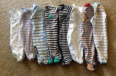 Baby Boy's Newborn 3 3/6 Months Footed Sleeper Pajama Clothes Lot Free Shipping