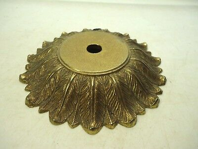 """Vintage 5 5/8"""" Round Ornate Lamp Base Cast Metal Part Up-Cycle Craft"""