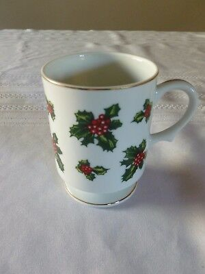 Lefton China Holly Berry Footed Mug Gold Trim - Hand Painted 00001