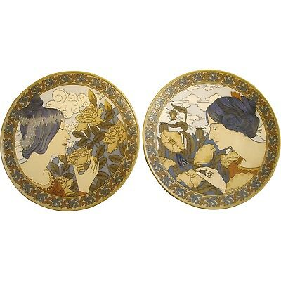 """Pair of Antique XL Mettlach German Plaques Art Nouveau Maidens and Flowers 19.5"""""""