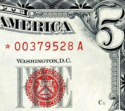 HGR SATURDAY 1963 $5 RED Seal ***Star*** Appears Near UNCIRCULATED