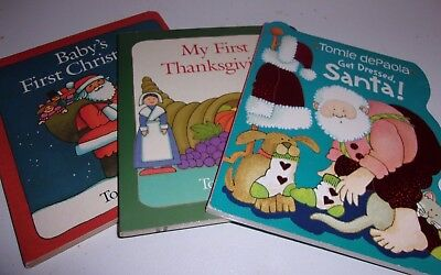 Lot of 3 Tomie dePola Holiday Board Books My First Thanksgiving Christmas