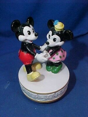 1970s MICKEY + MINNIE MOUSE Porcelain DANCING MUSIC BOX by SCHMID Works Good