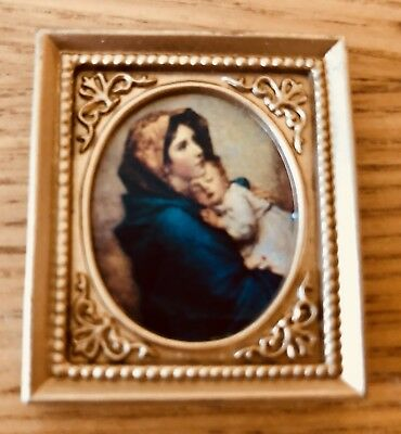 """Vintage LUNDBY Dollhouse """"Madonna And Child"""" Painting (faux).  MOP"""