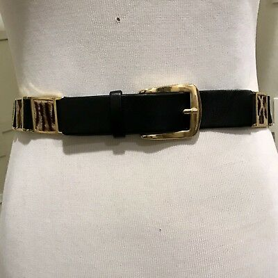 Suzi Roher Black And Gold Horse Hair Stretch Belt - Size Small Plus