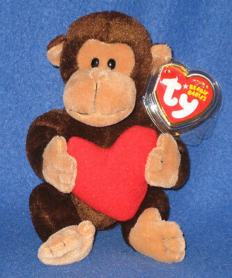 TY D'VINE the VALENTINE MONKEY BEANIE BABY - MINT with TAGS - SEE PICS