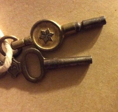Antique Clock or FURNITURE Keys,5&6 Very Ornate Old Cabinet Or Trinket Box Keys