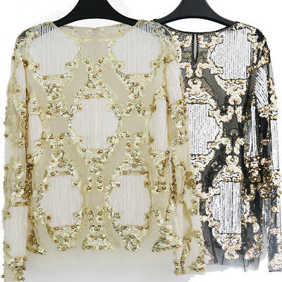 Ladies Sexy Mesh Top Blouse Fashion Show Beading Long Sleeve Shirt Top Sequined