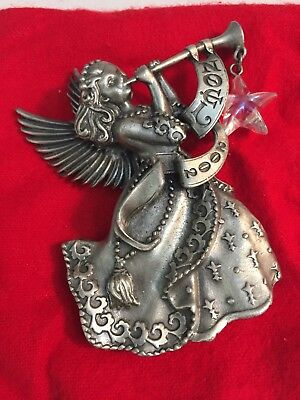 Avon New 2002 Christmas Pewter Ornament ANGEL WITH A STAR