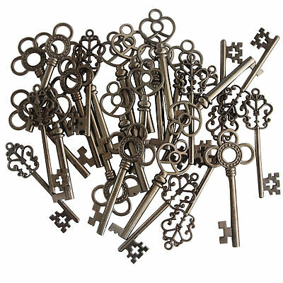 Skeleton Keys Antique Gunmetal Black Finish 30 Key Set Vintage Style Large New