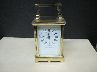 Vintage Carriage Clock , Brass Case, Beveled Glass -Sold By American Spec. Co