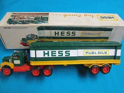 1975 Hess Truck in Excellent Condition with Box and Barrels