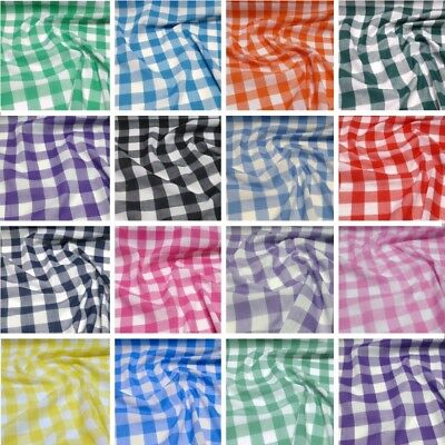 "Polycotton Fabric 1""  Gingham Check Dress Craft Checked School Uniform"