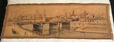Rare Huge French Tapestry Moscow River, Kremlin circa1900 Moscou