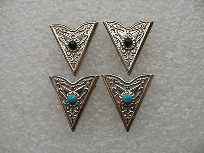 Vintage Western Collar Tips Matched Set His & Hers Silver Steel Turquoise--Black