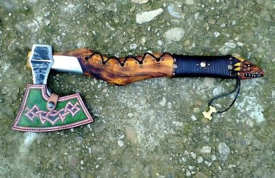 1 Viking Style Bearded Axe,hatchet Hand Forged,decorated With Carved Dragon Head