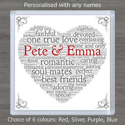 Valentines Day Personalised Word Art Heart Coaster Romantic Gift For Him or Her