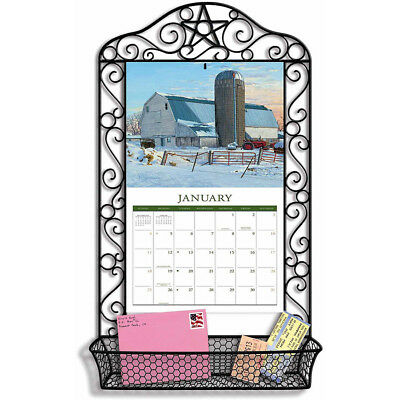 Wrought Iron Calendar Frame Calendar Decorative Wall Black Basket Top Quality