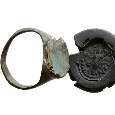 Stunning Roman Bronze Seal Ring With Unknown Stone Circa 400 Ad