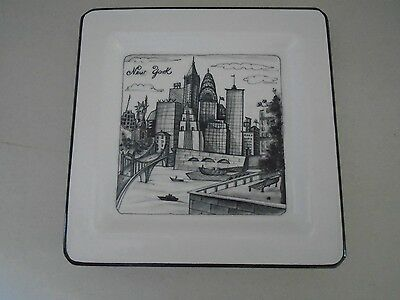 New York Square Plate Cities Bridge Made in Italy Porcelain Statue of Liberty