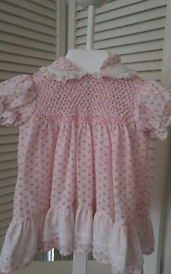 Vintage Polly Finders Baby Girls Pink Rosebud Hand Smocked  Dress~6-9 mths