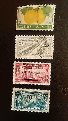 Briefmarke Grand Liban 7P. 50, + 2 weitere Liban + 1 weiter Republique Libanaise