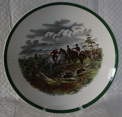 Copeland Spode Herring Hunting 22cm Green Rim Shallow Dish or Bowl #2  The Find