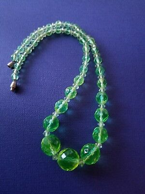 Vintage Art Deco Czech Green Vaseline Faceted Necklace