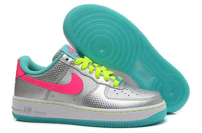 Nike Girls Air Force 1 Gs Shoes Metallic Silver Pink 314219 011 7Y $75 Msrp