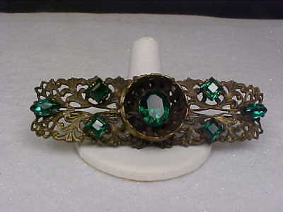 Ornate Vintage Art Deco Style Goldtone & Emerald Green Rhinestone Bar Brooch