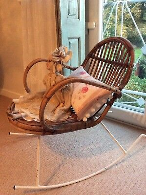 RARE Antique French Solid Iron & Cane Rocking Chair 1920's - Beautiful Patina