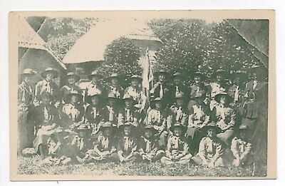 Printed Postcard Possibly Girl Guides ? Troupe At Unknown Location
