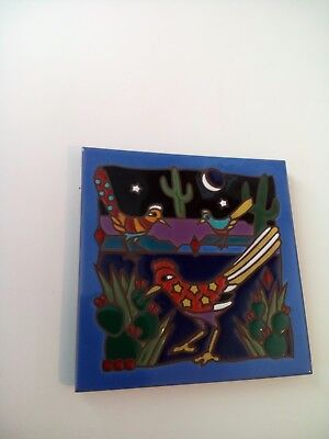 "Ceramic Wall Art Tile Trivet Cactus Birds Southwestern Nighttime 6"" sq"