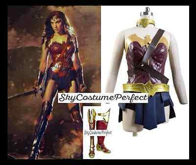 FREE SHIP DC Movie Wonder Woman Diana Prince costume + BOOTS Cosplay A+