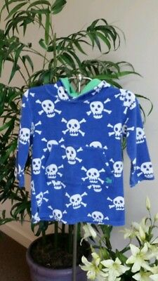 MINI BODEN Boys Blue SCULL HOODED TERRY Robe THROW-ON Beach Pool Cover-Up 5-6Y