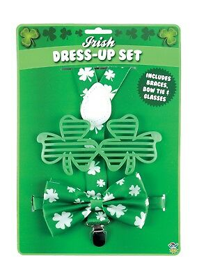 St Patricks Day Instant Fancy Dress Set: Braces, Glasses + Bow Tie Ireland Irish