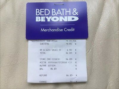 Bed Bath and Beyond Merchandise Credit & Gift Store Card - $86.89 Balance