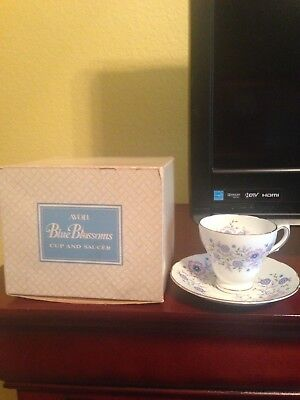 Avon Blue Blossoms China Cup & Saucer - 1984