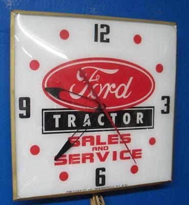 Vintage Pam Lighted Advertising FORD TRACTOR SALES & SERVICE Clock
