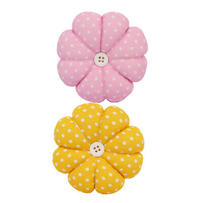 Fabric Pumpkin Cross Stitch Needle Sewing Pin Cushion Button DIY Sewing Supplies