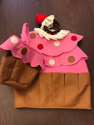 Pottery Barn Kids Cupcake Costume + Headband & Treat Bag 12-24 Months NWOT